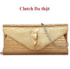 Clutch/Ví nữ cầm tay cao cấp vân cá sấu da thật ND( vàng)