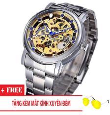 Đồng hồ cơ nam dây thép thương hiệu Nary (Dây Bạc, Mặt Vàng) + Tặng Kèm Mắt Kính RB Gập