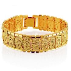 Lắc tay nam,Vòng tay thời trang mạ vàng 24k đúc hoa văn trái tim rồng nổi