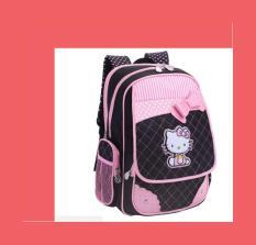 Ba lô cho bé gái từ lớp 2 đến lớp 5 màu hồng phối đen chống gù lưng