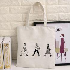 Túi vải tote nữ in hình 3 người (Trắng)
