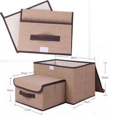 Bộ 2 tủ vải khung cứng đựng đồ
