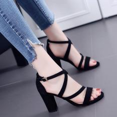 Giày cao gót đế vuông 7cm dây chéo không đau chân cao gót 7p