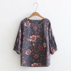 AKira Áo kiểu nữ trung niên sang trọng Big size vải Linen cao cấp họa tiết hoa lá HOT 2018 – áo nữ trung niên – Áo u50 u60
