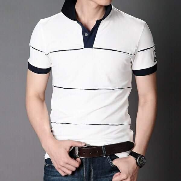 Nên mua áo thun nam cổ tru trắng sọc ngang ở XuMon boutique