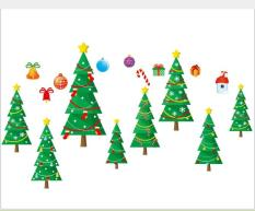 Decal dán tường Noel, giáng sinh, Christmas rèm cây thông – XH6255