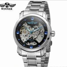 Đồng hồ cơ nam Winner H005M dây kim inox lộ máy (M Dây inox mặt đen)