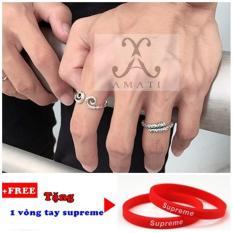 Bộ 2 nhẫn nam thời trang gtm2 (tặng vòng tay supreme)