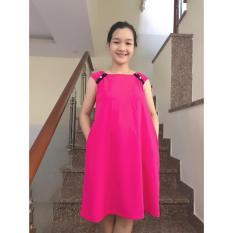 Đầm bầu suông phối màu nơ vai (hồng)