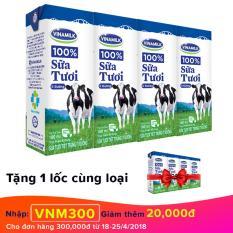 Thùng 48 hộp sữa tươi Vinamilk 100% ít đường 180ml + Tặng 1 lốc cùng loại