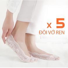 Bộ 5 đôi vớ ren cotton hút mồ hôi rất mềm mang giày cao gót, giày búp bê cực êm chân – PK07