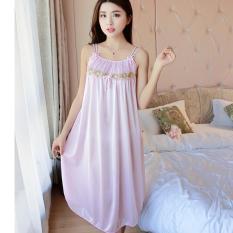 Đầm (Váy) ngủ nữ 2 dây phi lụa mềm mại thoáng mát co giãn MDH-SX576