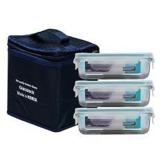 Bộ 3 hộp cơm thủy tinh Glasslock 400ml tặng kèm túi giữ nhiệt