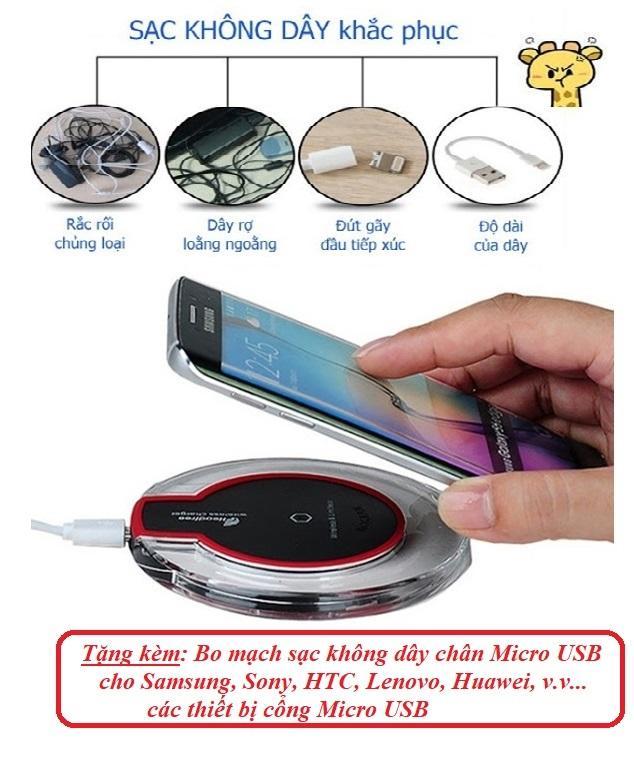 day sac dien thoai – Sạc không dây fantasy.vPro HOT1227 Chuẩn Qi + Tặng Bo mạch sạc Chân Micro USB cho Android – BH 1 đổi 1 Uy tín -day sac dt