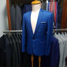 Bộ vest nam màu xanh cổ vịt ôm body kiểu 1 nút