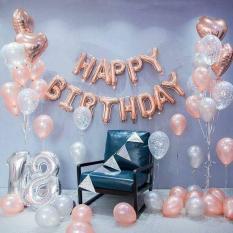 SÉT trọn bộ happy birthday trang trí sinh nhật tông HỒNG GOLD siu hót