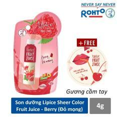 Son dưỡng chiết xuất trái cây Lipice Sheer Color Fruit Juice Berry 4g (Đỏ Mọng) + Tặng gương cầm tay xinh xắn