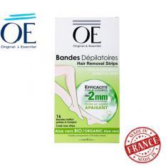 Bộ 16 miếng dán tẩy lông cho da nhạy cảm OE Dépilatoires Aloe Vera