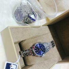 Đồng hồ nữ mạ vàng cao cấp Halei dây trắng mặt xanh 502