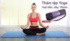 Thảm tập Yoga cao cấp siêu bền, dày 10mm TPE (Tặng kèm túi đựng và dây buộc thảm)