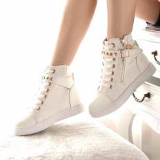 (Xem video thật của SP) Giày sneaker nữ cổ cao nạm kim loại MSP 2109 (Trắng)