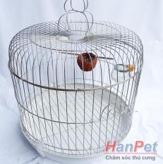 Lồng chim cu gáy và các loại chim kích thước lớn- Lồng chim bằng chất liệu inox không gỉ sét – Kích thước 40x35cm – tặng máng ăn, máng uống (hanpet 601f) lồng nuôi cu / lồng vẹt / lồng sáo / lồng yểng