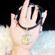 Bộ dây da bọc bạc liền mặt đá vàng bọc rồng chất liệu bạc ta – MDNA57A – Bạc QTJ(bạc)