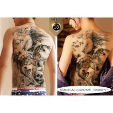Hình xăm dán tattoo kín lưng 34x48cm Thiếu Nữ Trần Trụi Giữa Bầy Sói XDL18 (Mua 1 tặng 1 mini tattoo)
