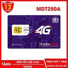 SIM 4G Mobifone MDT250A Trọn Gói 1 Năm Không Cần Nạp Tiền Với 4GB / Tháng