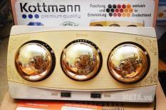 Đèn sưởi Kottmann 3 bóng vàng K3B-H, Bóng vàng tráng kim cương nhân tạo, Tiết kiệm điện