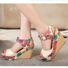Sandal xuồng, đế bằng, 10 phân, hở mũi, quai cài, da phối hoa (Hàng Nhập) – SD135
