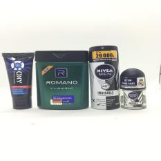(NHH) Trọn bộ 4 Sản Phẩm Bao Gồm (1 Dầu Gội Đầu Romano (100g/chai), 1 Xịt khử mùi Nivea (40ml/chai), 1 Sữa rửa mặt OXY (25g/tuýp + Lăn Khử Mùi Nivea (12ml))