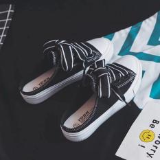 giày sục nữ đen trắng-ilala store
