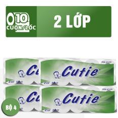 Bộ 4 Lốc giấy vệ sinh Cutie Xanh x 10 cuộn [ NTPM – GVS MY 04 ]