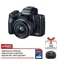 Canon EOS M50 kèm Lens 15-45mm – Màu đen (Hàng Canon Lê Bảo Minh)-Tặng khoá học nhiếp ảnh EOS + Thẻ SD 16GB + Túi