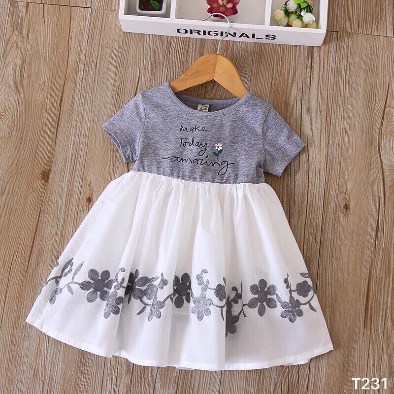 Váy cotton bé gái chân voan(ghi/trắng)