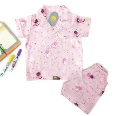 Pyjama Đùi Cho Bé Gái Hồng Mèo