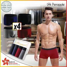 1 Hộp 4 quần lót nam 4 MÀU (đen, xanh, xám, đỏ) – PEN APPLE ống rộng Cotton cao cấp – 4 BOXER SHORT – sản xuất tại Hồng Kông – HÃNG PHÂN PHỐI CHÍNH THỨC