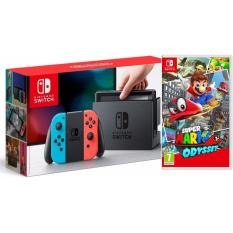 COMBO Máy chơi Game Nintendo Switch With Neon Blue Red Joy-Con Tặng Kèm Game Mario Odyssey