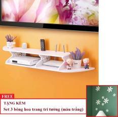 Kệ DVD, kệ tivi treo tường TẶNG Set 3 bông hoa dán tường trang trí HOME DECOR