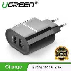 Củ sạc 2 cổng USB 2.0 (1 cổng 5V-1A và 1 cổng tốc độ cao 5V-2.4A) UGREEN CD104 20383