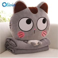 Bộ chăn gối 3 trong 1 cao cấp mèo xám mắt tròn dễ thương Olivin LA753