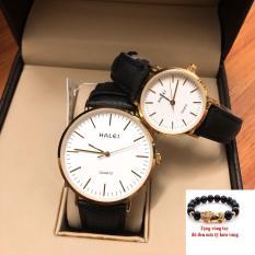 Cặp Đồng hồ nam nữ Halei dây da mặt tròn thời thượng TẶNG 1 vòng tỳ hưu phong thủy may mắn