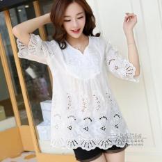 Áo Sơ Mi Cotton Bồng Thêu Hoa Cổ Tròn Size Lớn Phong Cách Hàn Quốcdành Cho Nữ