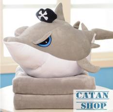 Gối mền cá mập Baby shark 3 trong 1, hàng siêu to dài 65cm, nỉ nhung cực mịn, bộ chăn gối văn phòng, gấu bông kèm mền