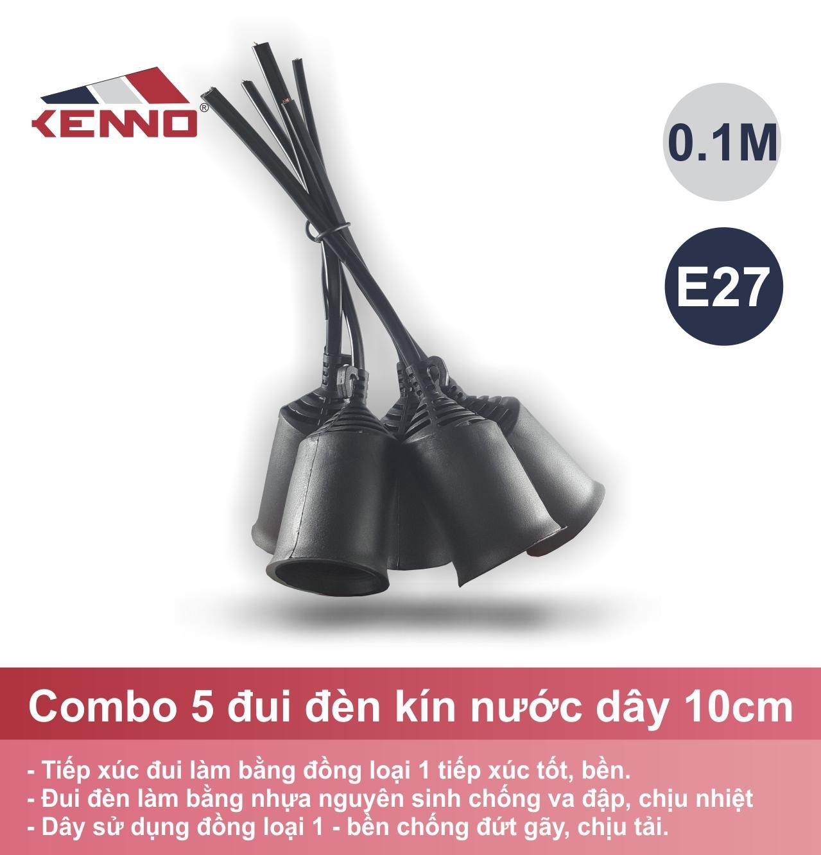 Bộ 5 Đui đèn kín nước 27LĐ dây dài 10cm ( Màu đen)