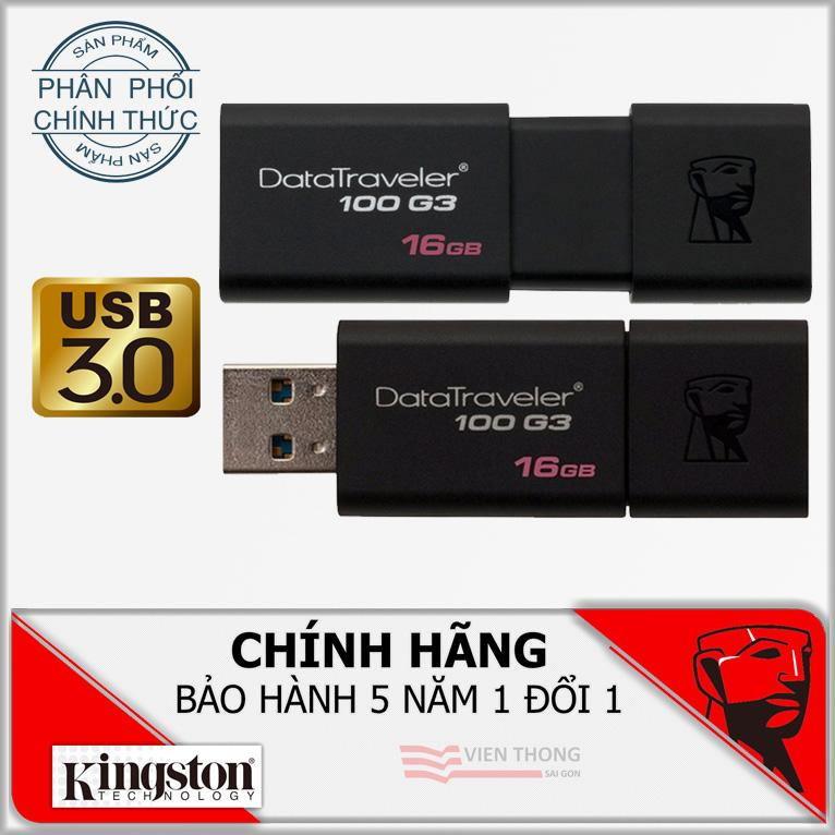 USB 3.0 16GB Kingston DataTraveler 100 G3 (Đen) – Bảo hành 5 năm đổi mới