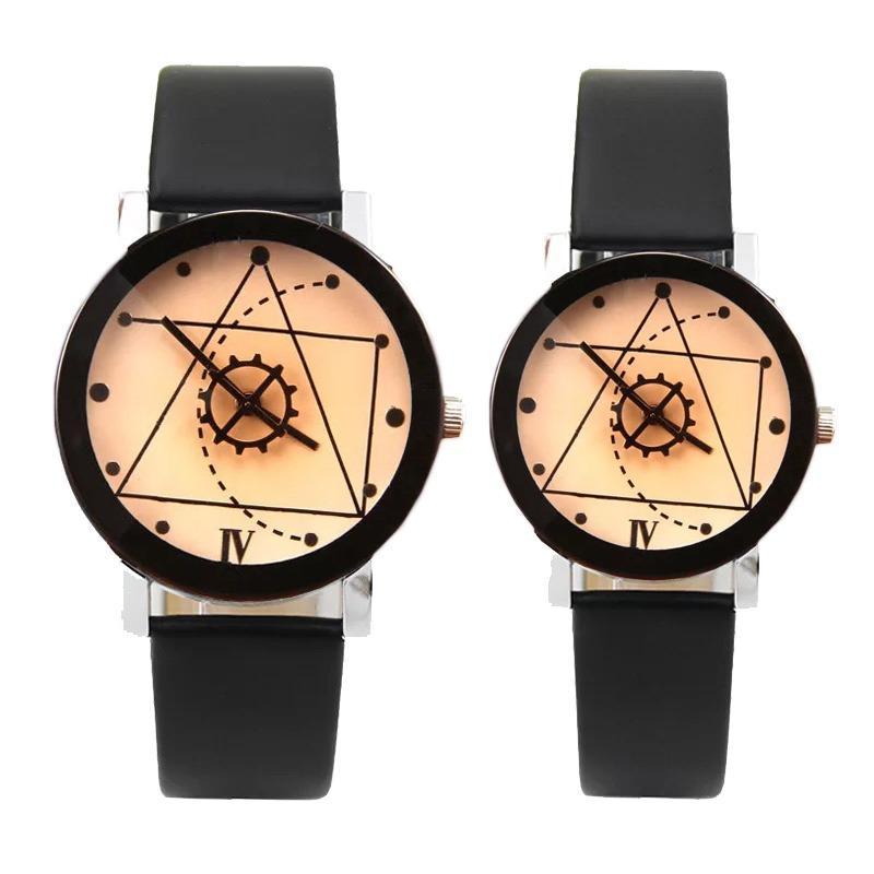 Đồng hồ cặp dây da Thạch Anh Tam Giác (Dây đen, Mặt Xám)