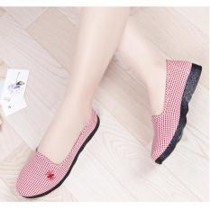 Giày lười slip on nữ vải carô có đế cao su cực dẻo chống trượt và đi bộ cực êm chân, giày học sinh, giày công sở giá rẻ – Caro Canvas 344