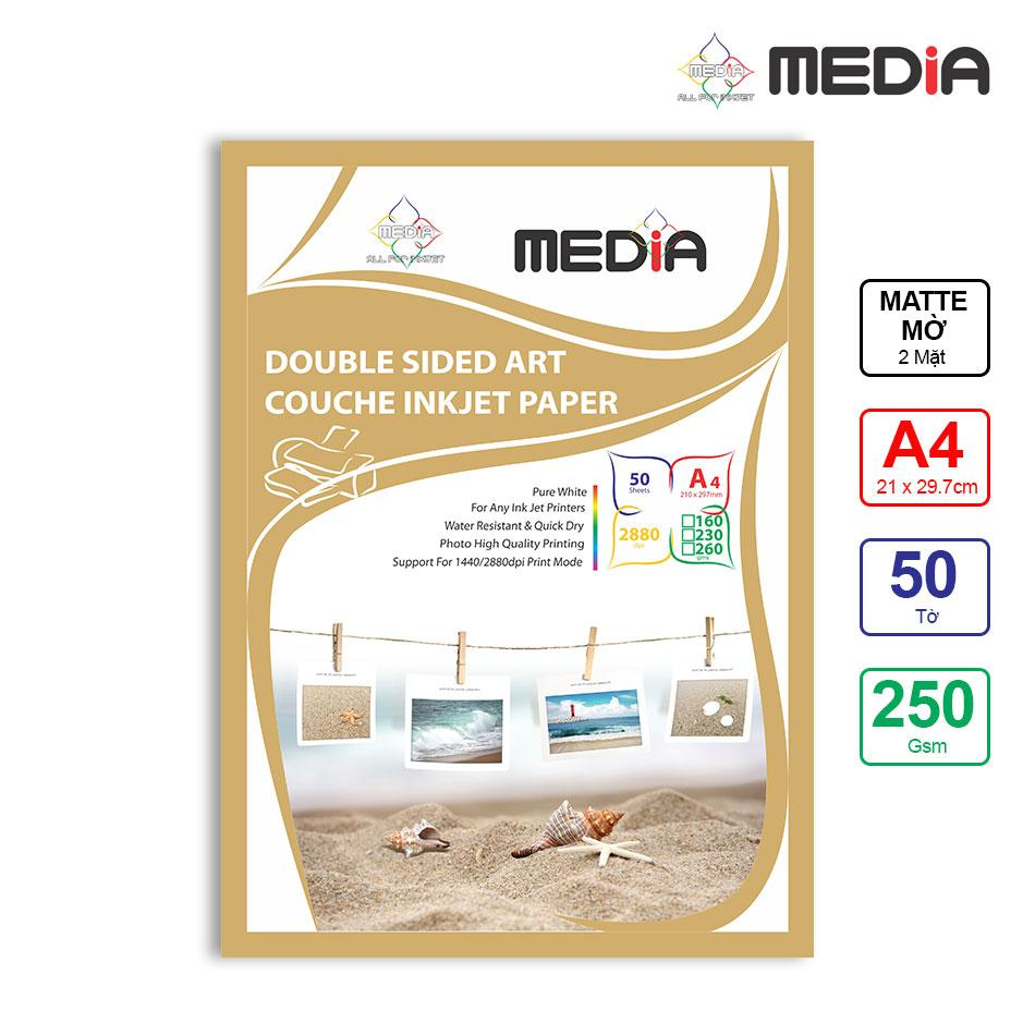 Giấy In Màu Media 2 Mặt Mờ (Matte) A4 (21 x 29.7cm) 250gsm 50 tờ - Hàng Nhập Khẩu